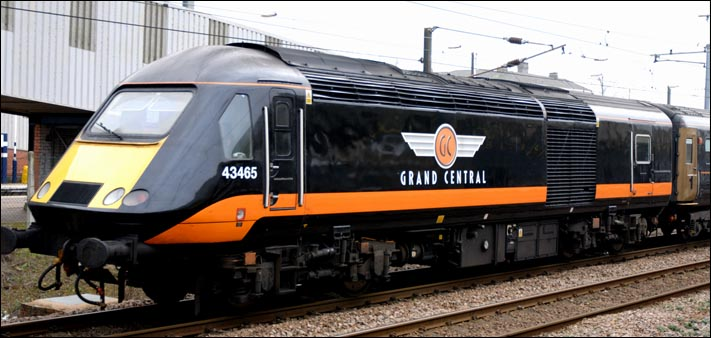 Grand Central HST power car now with the number 43465 at Peterborough
