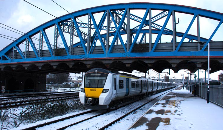 Thameslink 700052 starting  from Peterborough on the 28th February 2018