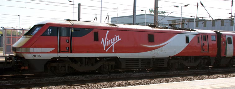 Virgin East Coast class 91105 in platform 3 at Peterborough railway station