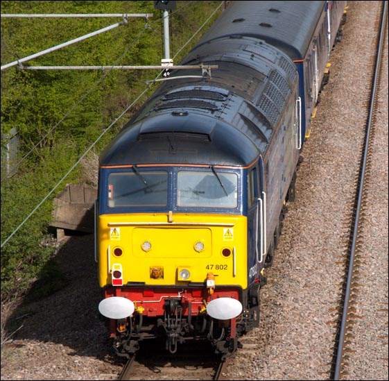 Class 47 802 was at the rear of the train (top and Tailed) at Werrington