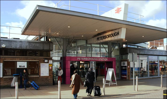 The ticket office and entrance at Peterborough in February 2014