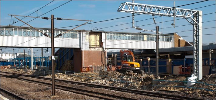 Work is under way at Peterborough on the 4th of September 2013 on the new platform 3