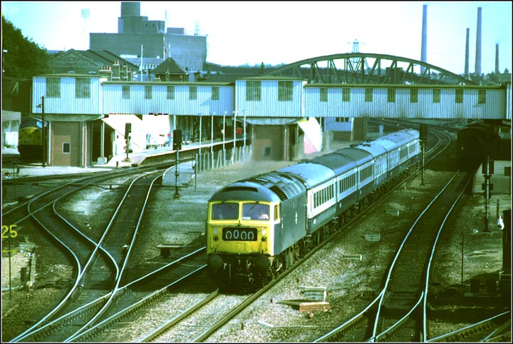 A  Class 47 on a down train on down fast at Peterborough station