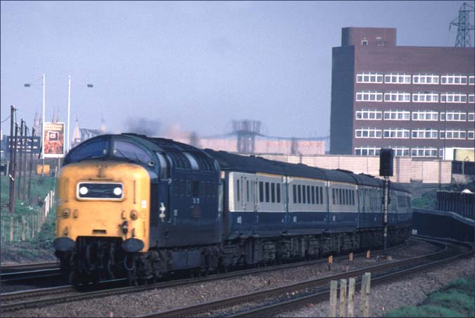 Class 55 Deltic at Fletton in the late 1970s on a up train to London