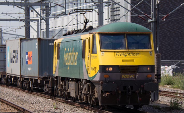 Freightliner class 90045 at Rugby on Thursday the 24th of July 2014