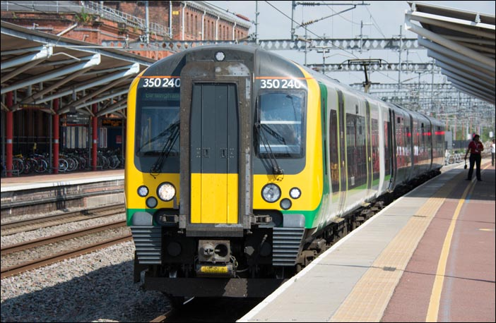 London Midland class 350 240 on a Birmingham train on Thursday the 24th of July 2014