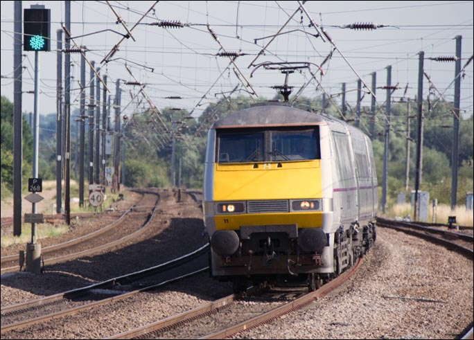 East Coast class 91111 on the down fast just to the south of Sandy station 29th of july 2014