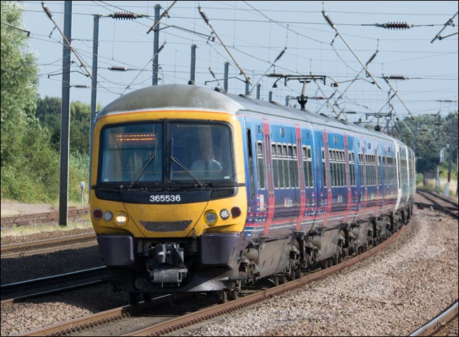 First Capital Connect Class 365536 on the down fast on the 29th of July 2014