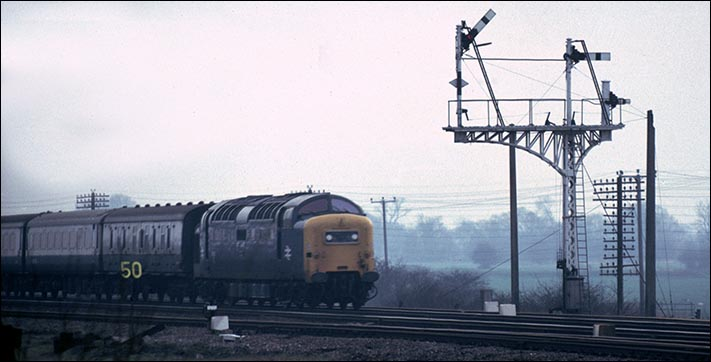 A class 55 Deltic at Sandy near one of the signals that Sandy box worked