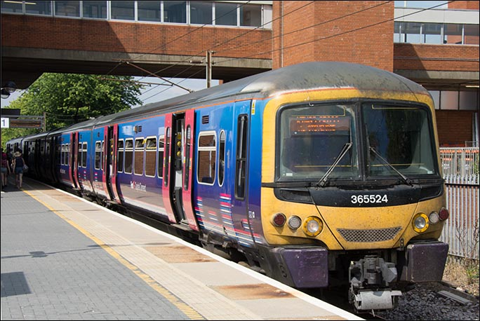 First Capital Connect Class 365524 in the old colours on the 29th of July 2014 in platform 1.