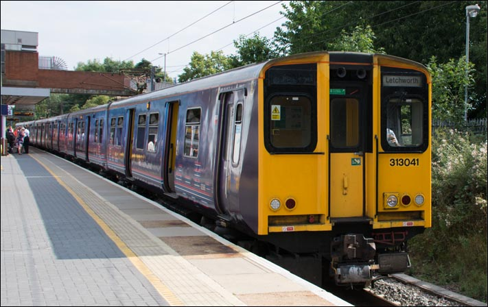 First Capital Connect class 313041 in platform 4 at Stevenage on the 29th of July 2014