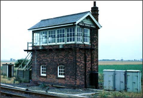 Three Horse Shoes signal box in 1970s with its old windows and chimmey.