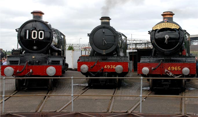 Three GWR engines at the open Weekend at Tyseley in 2008