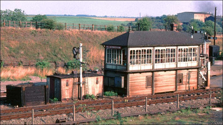 Wellingboro Station signal box at Wellingborough station in BR days