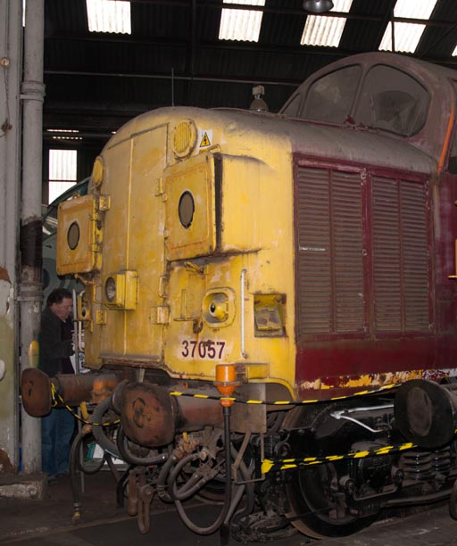 Class 37057 in the round house at Barrow Hill