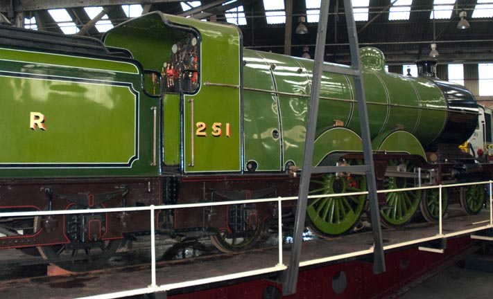 GNR 4-4-2 no.251 on the turntable at Barrow Hill