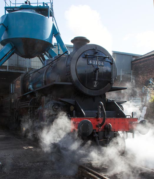 43106 coming out of the Barrow Hill Roundhouse