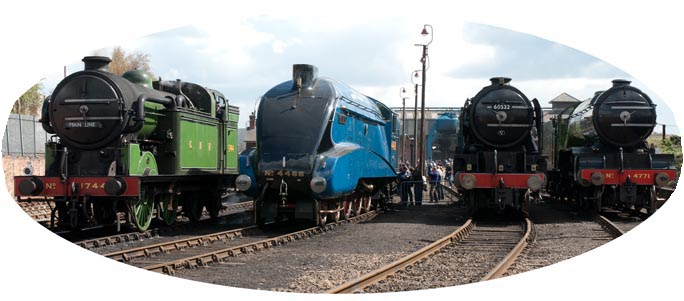 Four LNER locomotives at The Barrow Hill Engine shed