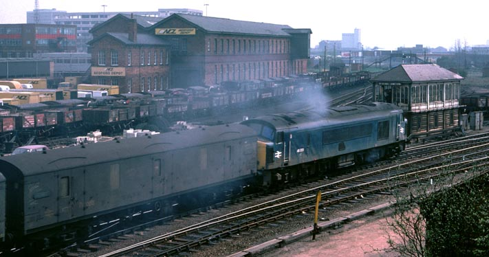 Class 45 out of Bedford station with a up parcels train.