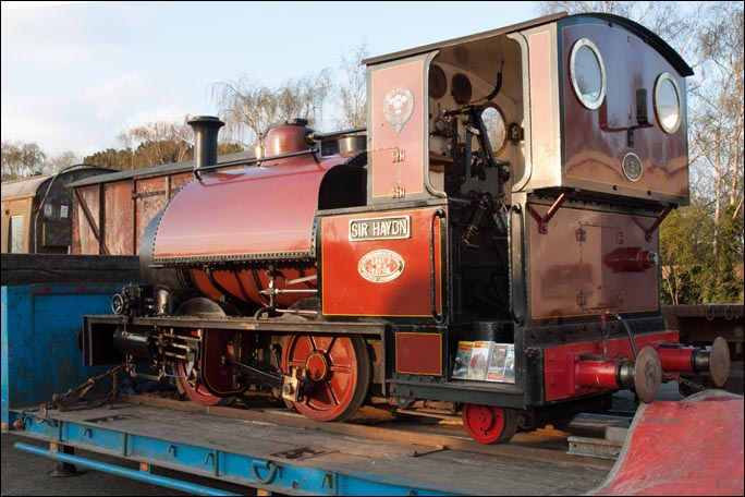 Sir Hayton a 0-4-2 narrow gauge locomotive on display at Quorn and Woodhouse station yard in 2013