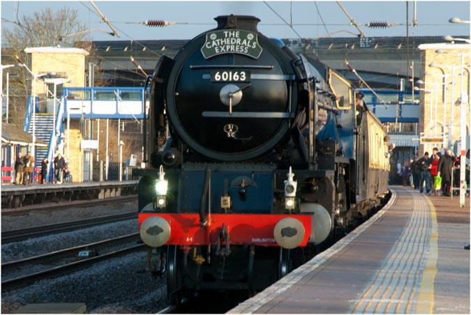 60163 Tornado with a Cathedrals Express at Huntingdon station on the 10/12/2012