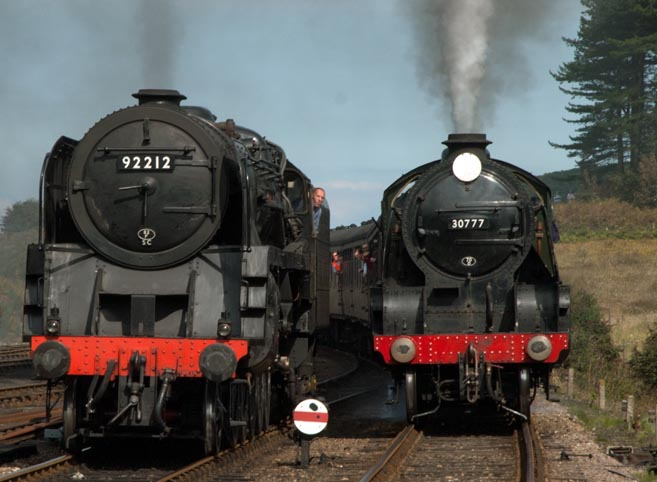 9F no.92212 and 30777 at Weybourne in 2010