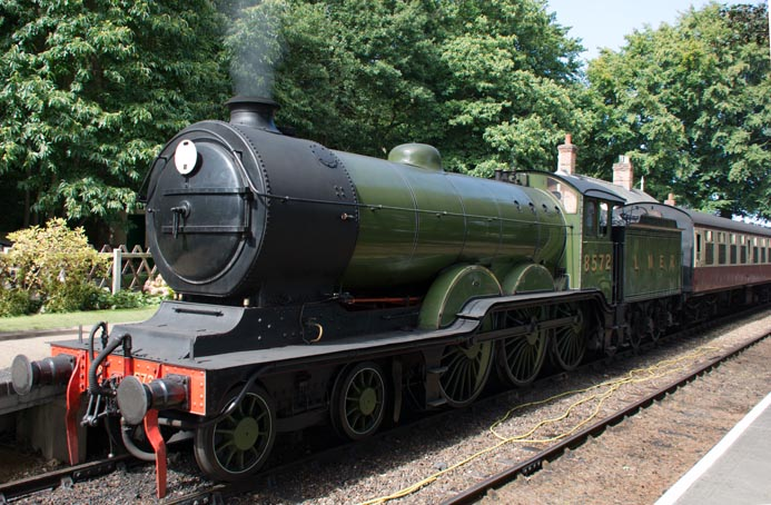 B12 no.8572 in LNER green at Holt station in 2014