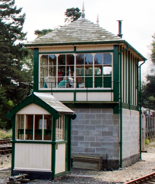 Holt signal box from the end showing the small Midland and Great Northern Joint Railway Hut from Hellesdon