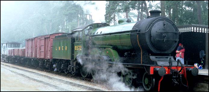LNER B12 on a freight train at Holt on the North Norfolk Railway