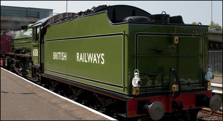 View of the tender  of 61036 Mayflower with British Railways in full on the tender