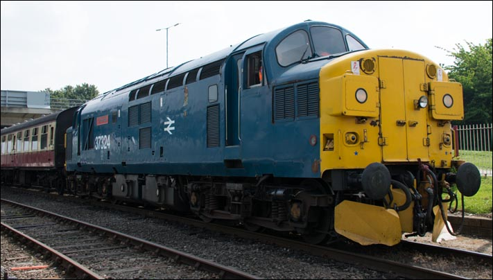 Class 37324 Clydebridge at Orton Mere railway station on the 16th of May 2014