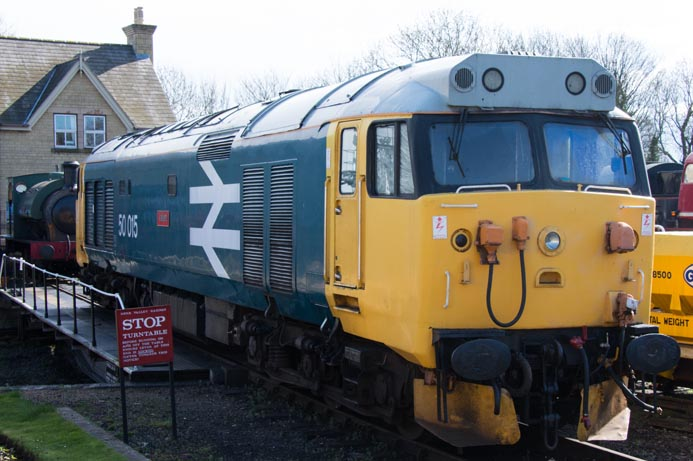 Class 50 015 Valiant on the turntable at the  Nene Valley Railway at  Wansford