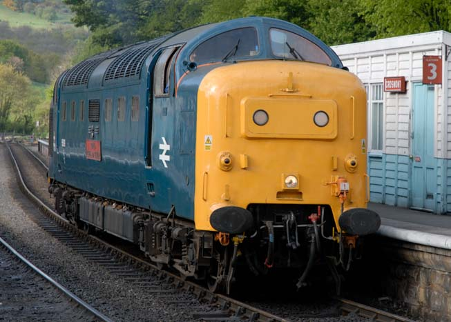 Deltic 55019 Royal Highland Fusilier light engine on the NYMR