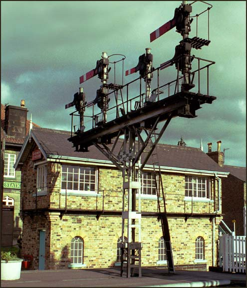 Grosmont Crossing  signal box and a signal
