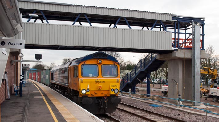 GBRf class 66710 with a freight in the new Platform 7 at Peterborough