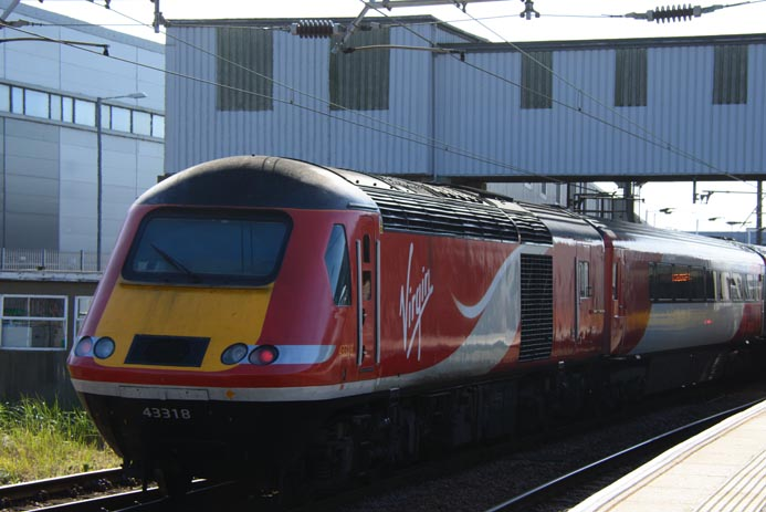 Virgin East Coast HST power car 43318 at Peterborough