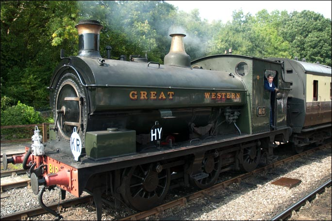 GWR 0-6-0ST no.813 at Highley railway station in 2008