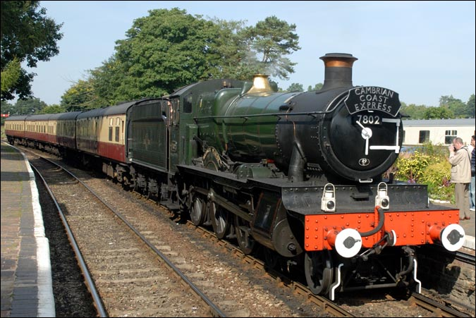 7802 Bradley Manor at the Severn Valley Railway at Arley station in 2008.