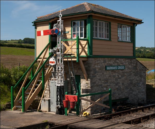 Harmans Cross signal box on the Swanage Railway.