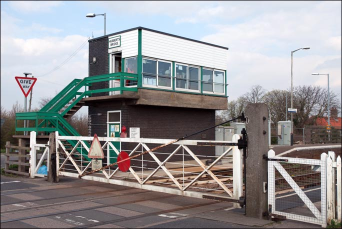 Hubberts Bridge signal box and level crossing gates.