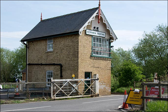 St James Deeping signal box in 2014 from the road