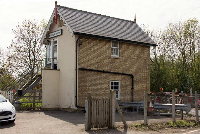 St James Deeping signal box in 2014 from the rear.