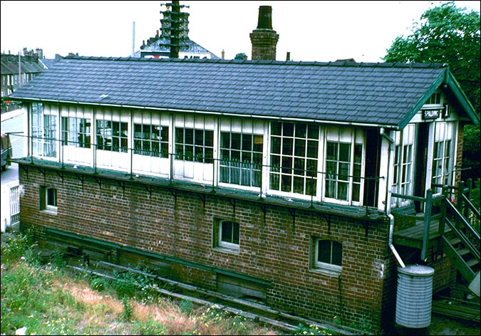Spalding No1 signal box from the footbridge in the 1970s