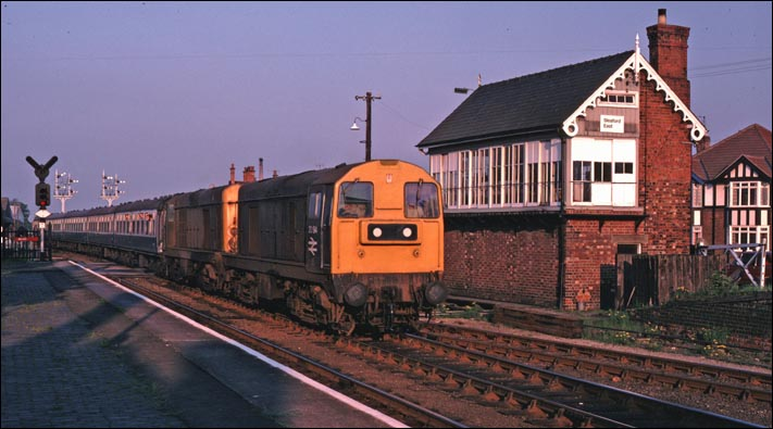 pair of class 20s return from Skegness in the late evening sun