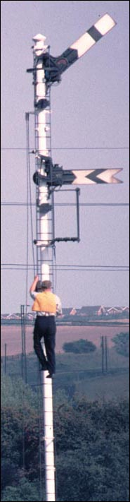 A man is up one of the signals just south of Wellingborough station changing the lamps