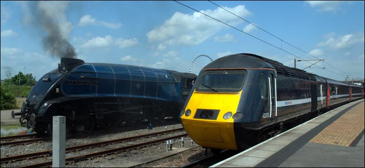 National Express HST 43206 and A4 sir Nigel Gresley in York station in 2008